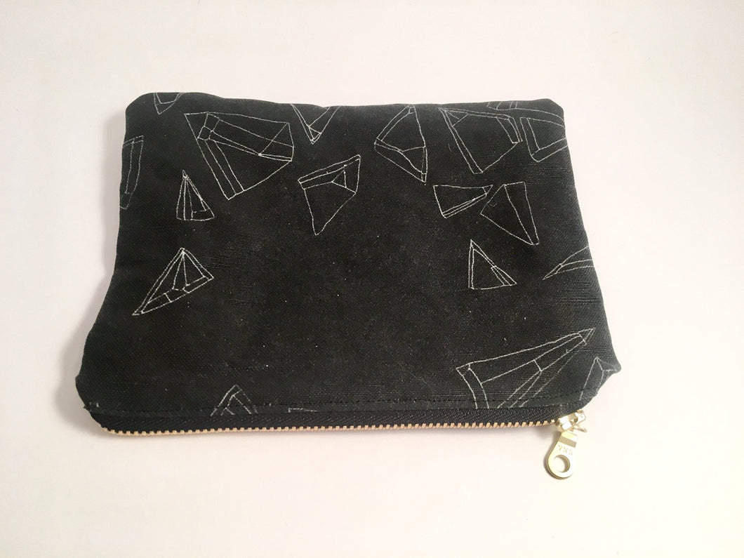 black hollow mini zip pouch