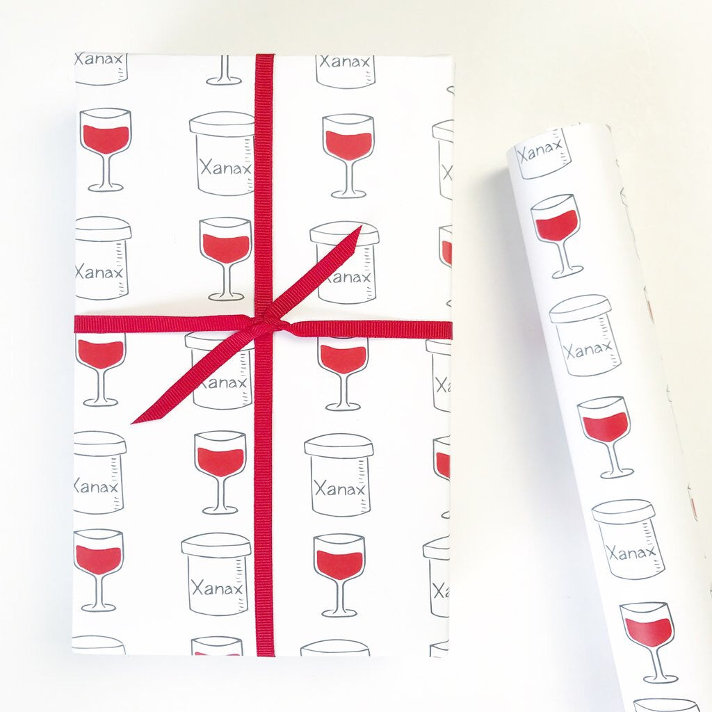 xanax + wine wrapping paper