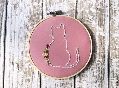 floral cat embroidery wall art
