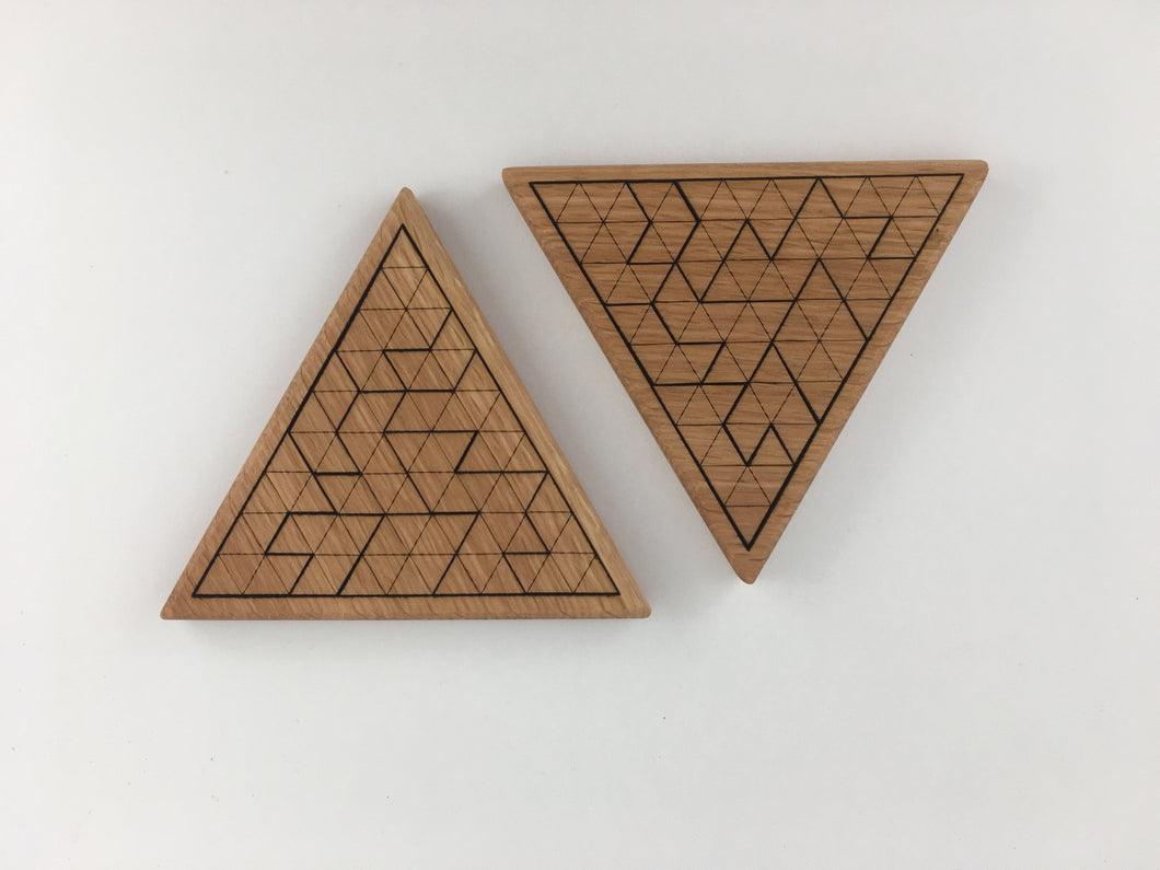 wooden triangle puzzle + coaster