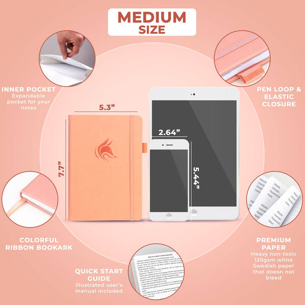 Password Book (Medium Size), Peach Pink