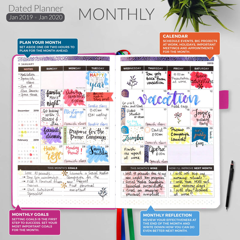 Dated Weekly Jan 2019 — Jan 2020, Hot Pink