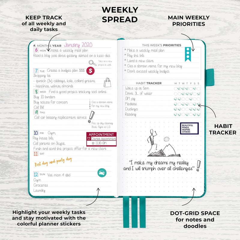 Pocket Weekly Planner, Turquoise