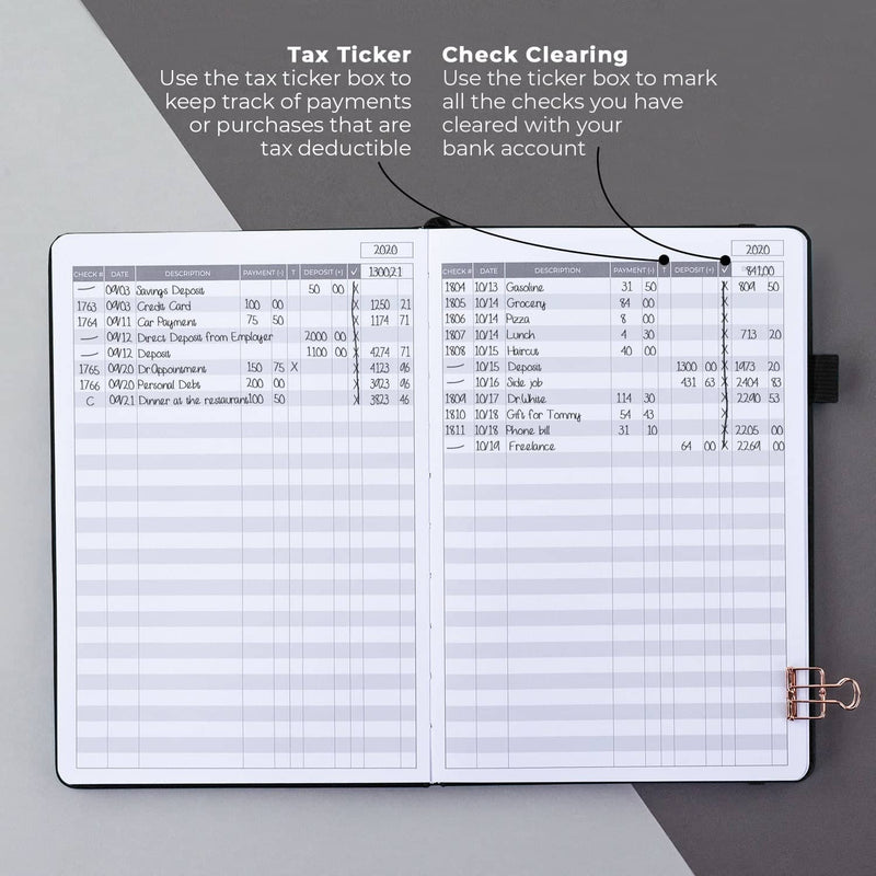 Clever Fox Check Register, Black