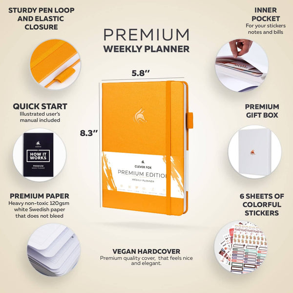 Premium Weekly Planner, Amber Yellow