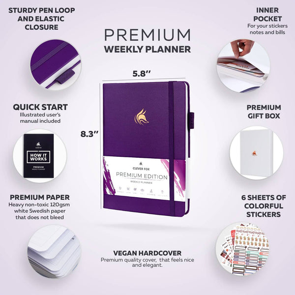 Premium Weekly Planner, Purple