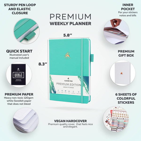 Premium Weekly Planner, Light Turquoise