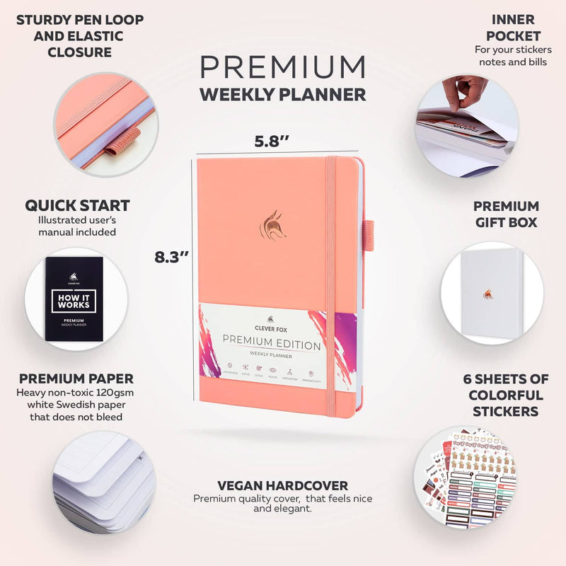 Premium Weekly Planner, Light Pink