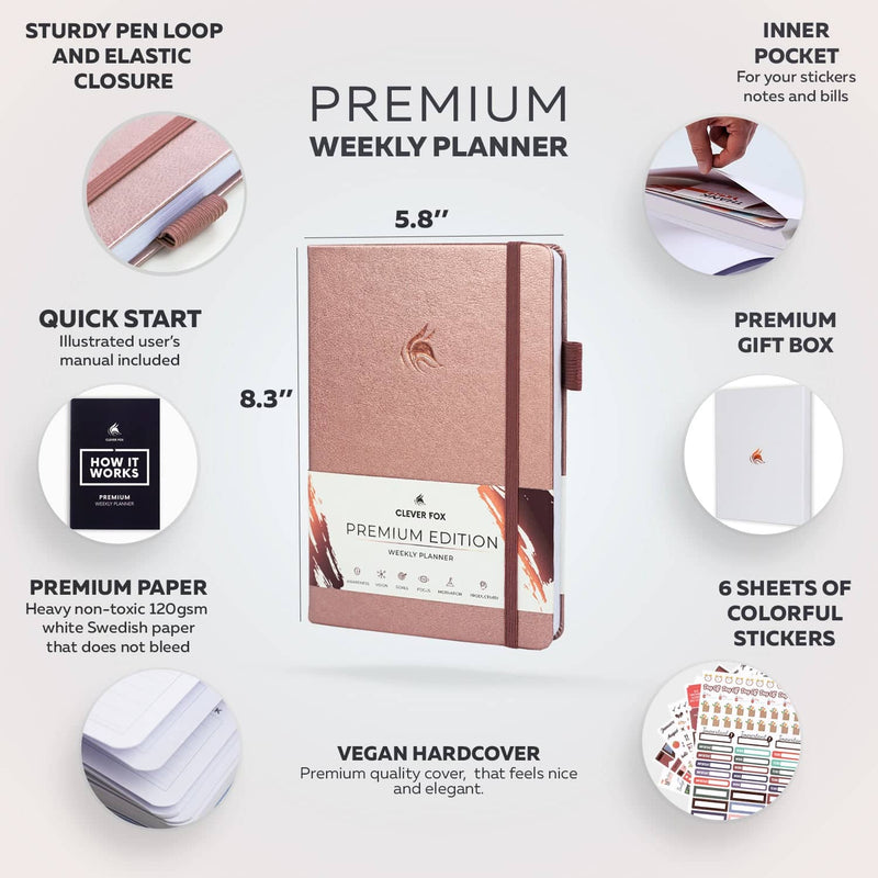Premium Weekly Planner, Rose Gold