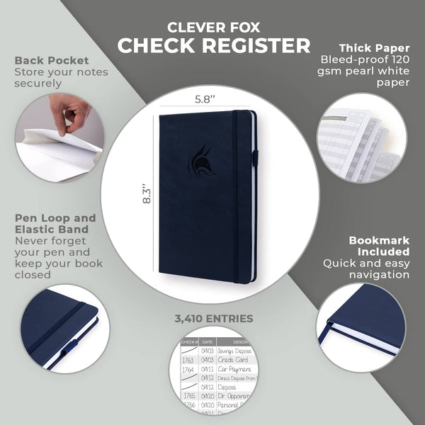 Clever Fox Check Register, Dark Blue