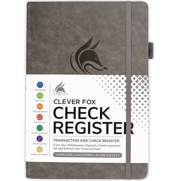 Clever Fox Check Register, Gray