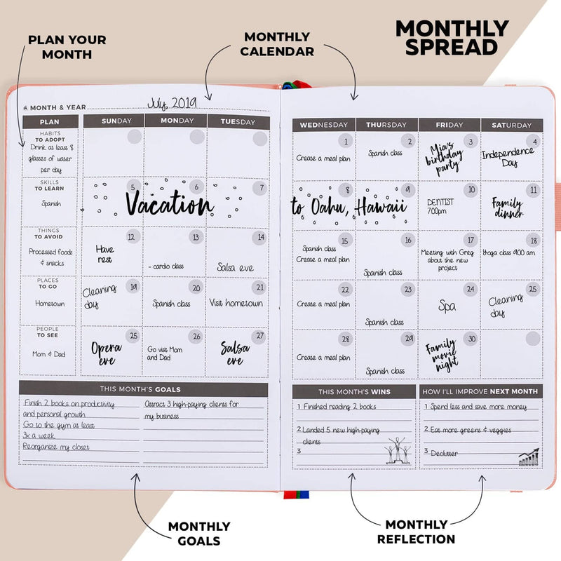 Undated Weekly Planner, Peach Pink