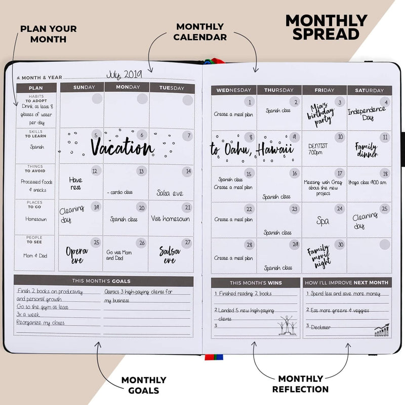 Undated Weekly Planner, Black