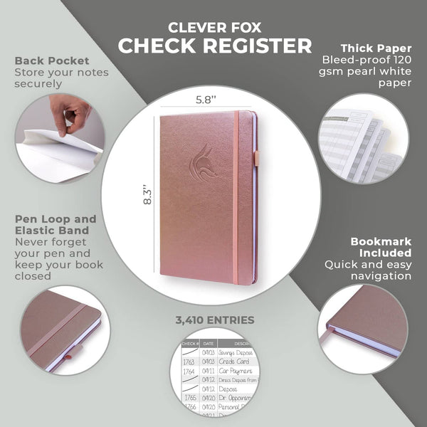 Clever Fox Check Register, Rose Gold