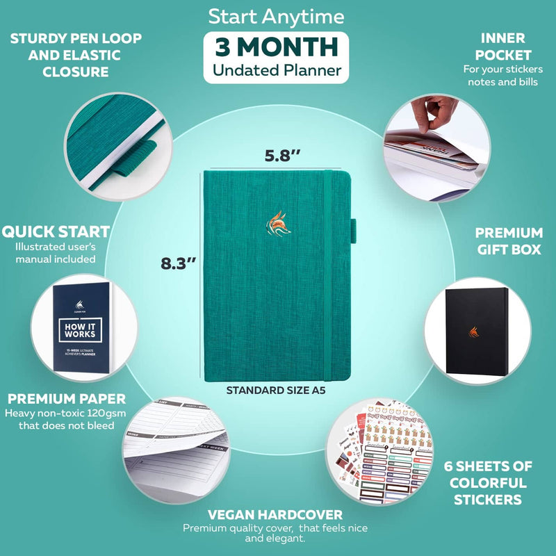 Ultimate Achiever's 13-Week Planner, Turquoise