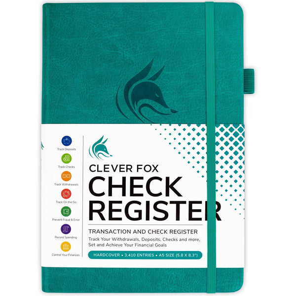 Clever Fox Check Register, Turquoise