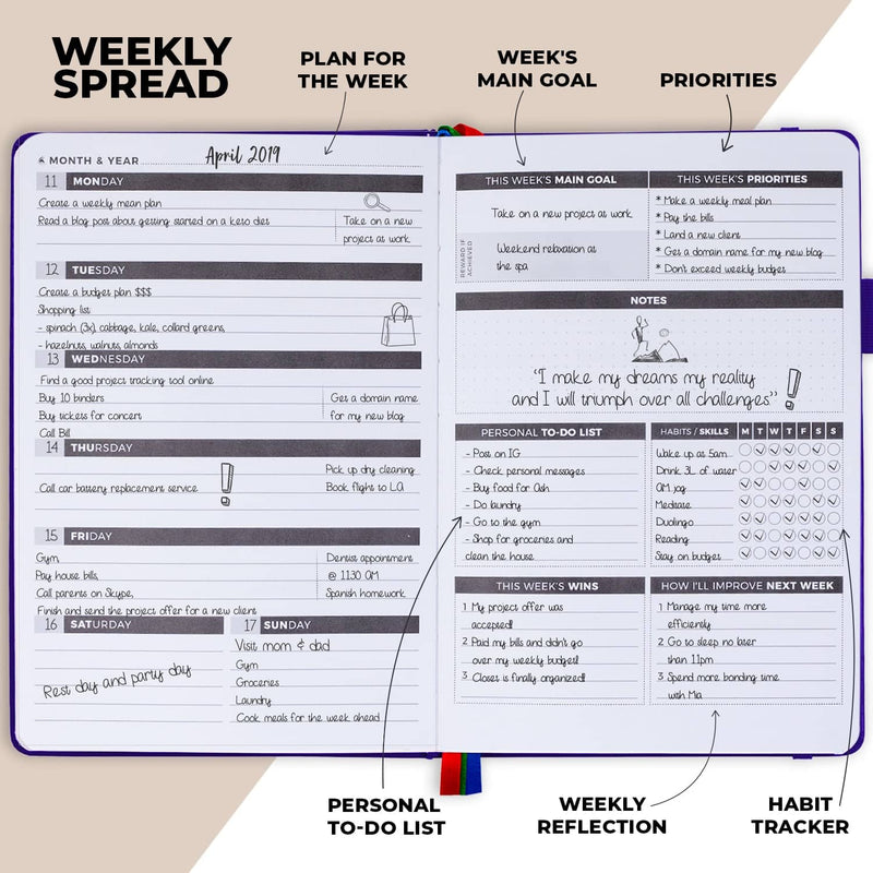 Undated Weekly Planner, Deep Purple