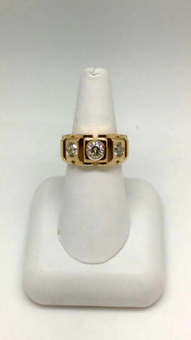 14K Gents 3 Stone Diamond Ring