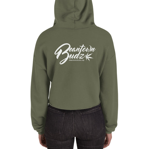 Beantown City Pot Leaf Crop Hoodie