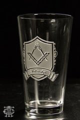 Deep-Carved Masonic Pint Glass, Fellowship