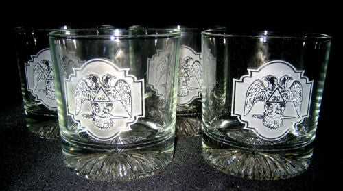 32nd Degree Scottish Rite Masonic Rocks Glasses (Set of 4)