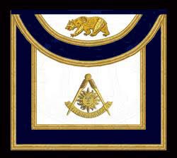 The California Past Master's Masonic Apron, Style B - Round Bib