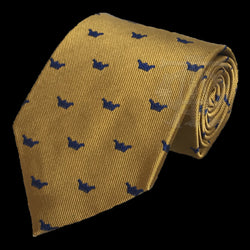 Crowned Martyrs Masonic Tie, Gold with Blue