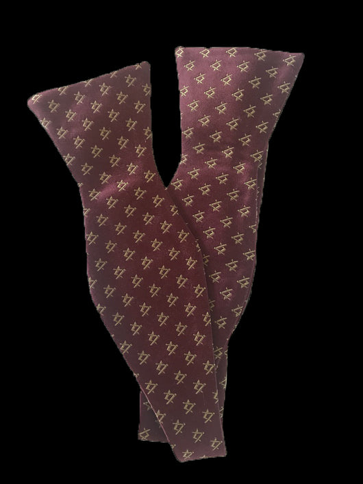 Small Square & Compasses Masonic Bowtie, Burgundy with Gold
