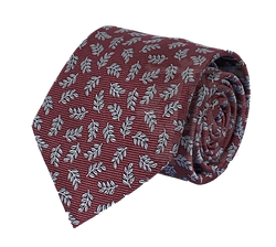 Acacia Necktie, Burgundy and Silver
