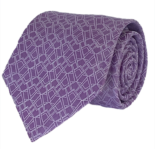 Alternating Square and Compass Necktie, Purple and Silver