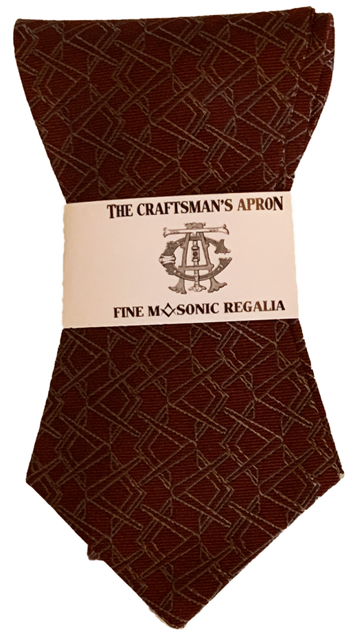 Alternating Square and Compass Bowtie, Burgundy and Silver