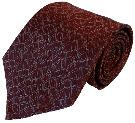Alternating Square and Compass Necktie, Red and Silver