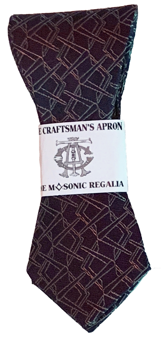 Alternating Square and Compass Slim Bowtie, Royal Purple and Silver
