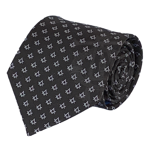 Classic Square and Compasses Masonic Necktie, Black and White