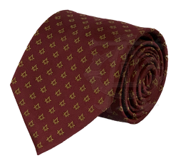 Classic Square and Compasses Masonic Necktie, Burgundy and Gold