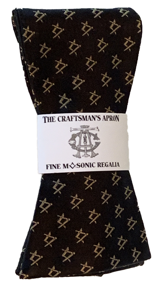Classic Square & Compasses Masonic Bowtie, Black with Gold