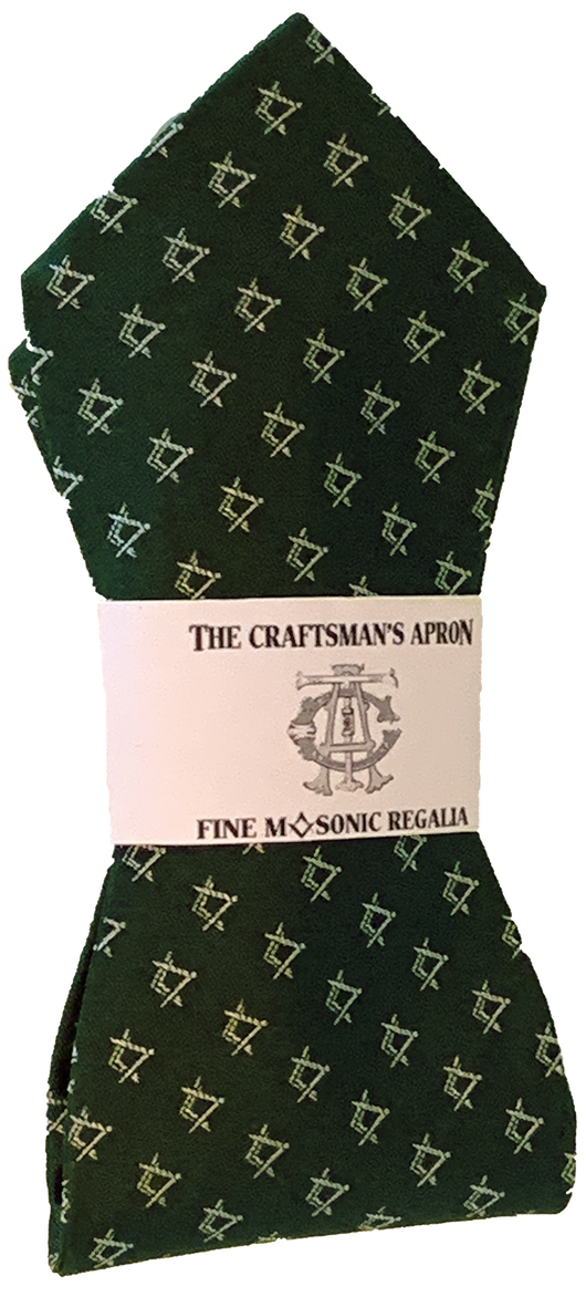 Classic Square and Compasses Masonic Bowtie, Green and Silver
