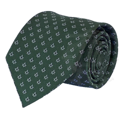 Classic Square and Compasses Masonic Necktie, Green and Silver