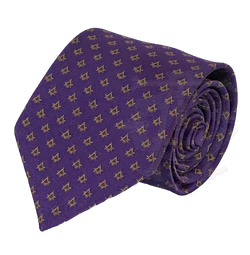 Classic Square and Compasses Masonic Necktie, Purple and Gold