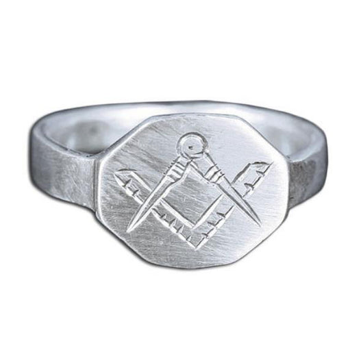 Square and Compasses Masonic Signet Pinky Ring (Silver only)
