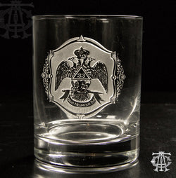 33rd Degree Scottish Rite Masonic Rocks Glass