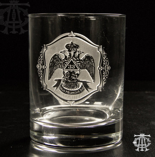 33nd Degree Scottish Rite Masonic Rocks Glass