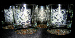 Working Tools Masonic Rocks Glasses (Set of 4)
