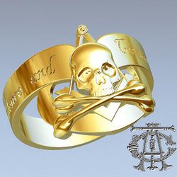 Silence & Circumspection Masonic Ring, Gold