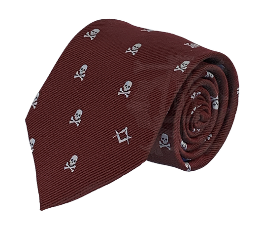 Skull and Crossbones Necktie, Burgundy and Silver