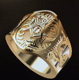 """The Edmonston"" Cigar Band Masonic Ring, Gold"
