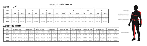 Riding Gear Sizing Chart