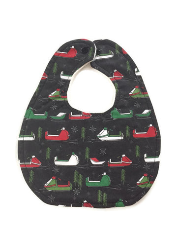 Red Green White Snowmobile Newborn Baby Bib