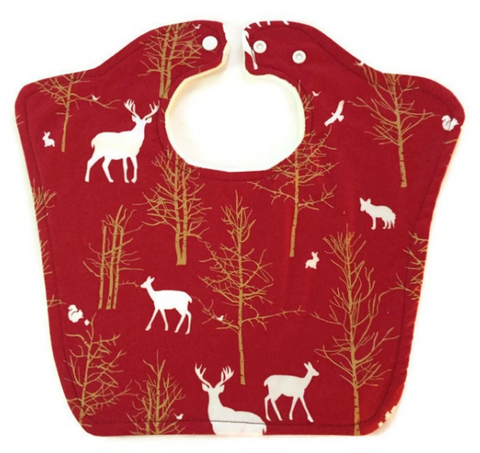 Deer Print Original Bourgeois Baby Bib Triple Layer, 2 Color Options