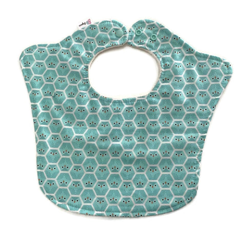 Hexagon Owls Organic Designer Triple Layer Baby Bib